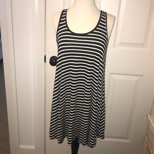 socialite black and white striped tee shirt dress